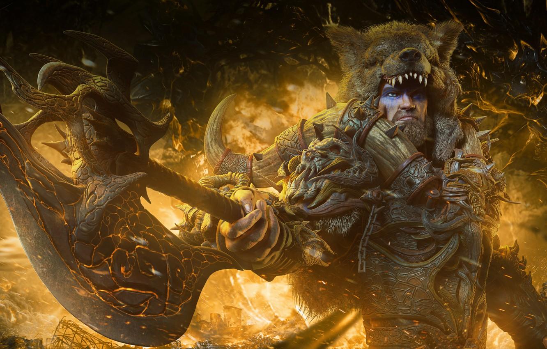 Photo wallpaper fire, bear, the demon, warrior, male, barbarian, raw
