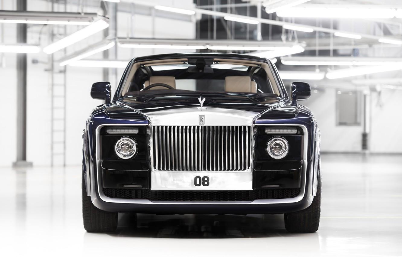 Photo wallpaper car, Rolls Royce, black, Rolls Royce Sweptail