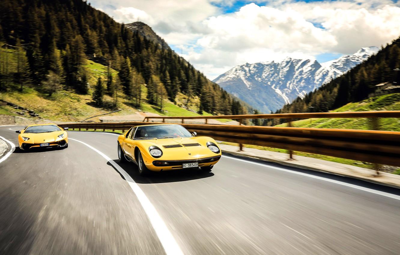 Photo wallpaper Auto, Road, Lamborghini, Machine, 1971, Lights, Landscape, Car, LP700-4, Aventador, Lamborghini Aventador, Supercar, Lamborghini Miura, …