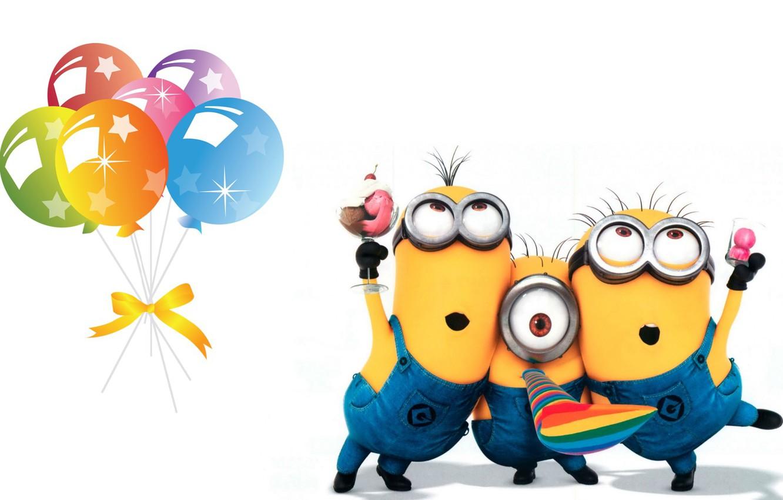 Photo wallpaper birthday, holiday, art, children's, minion, Minion, b-day
