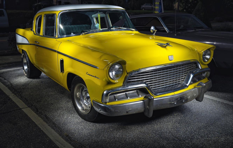 Photo wallpaper yellow, car, Studebaker, Commander