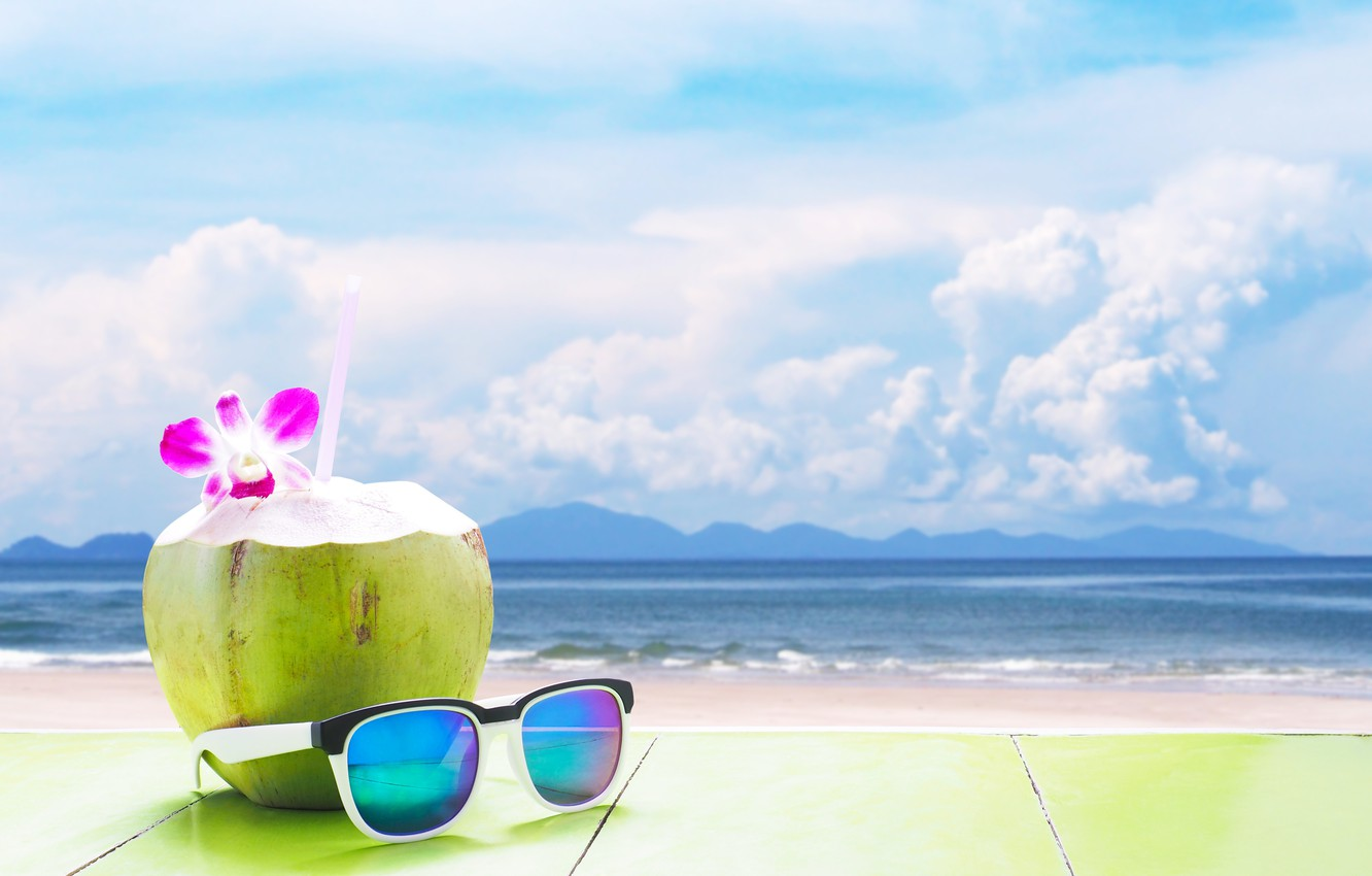 Photo wallpaper sand, sea, beach, summer, stay, coconut, glasses, cocktail, summer, beach, vacation, sea, sand, drink, coconut, …