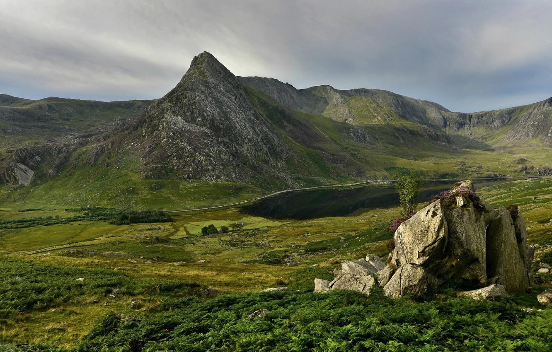 Photo wallpaper mountains, stones, rocks, Wales, Snowdonia