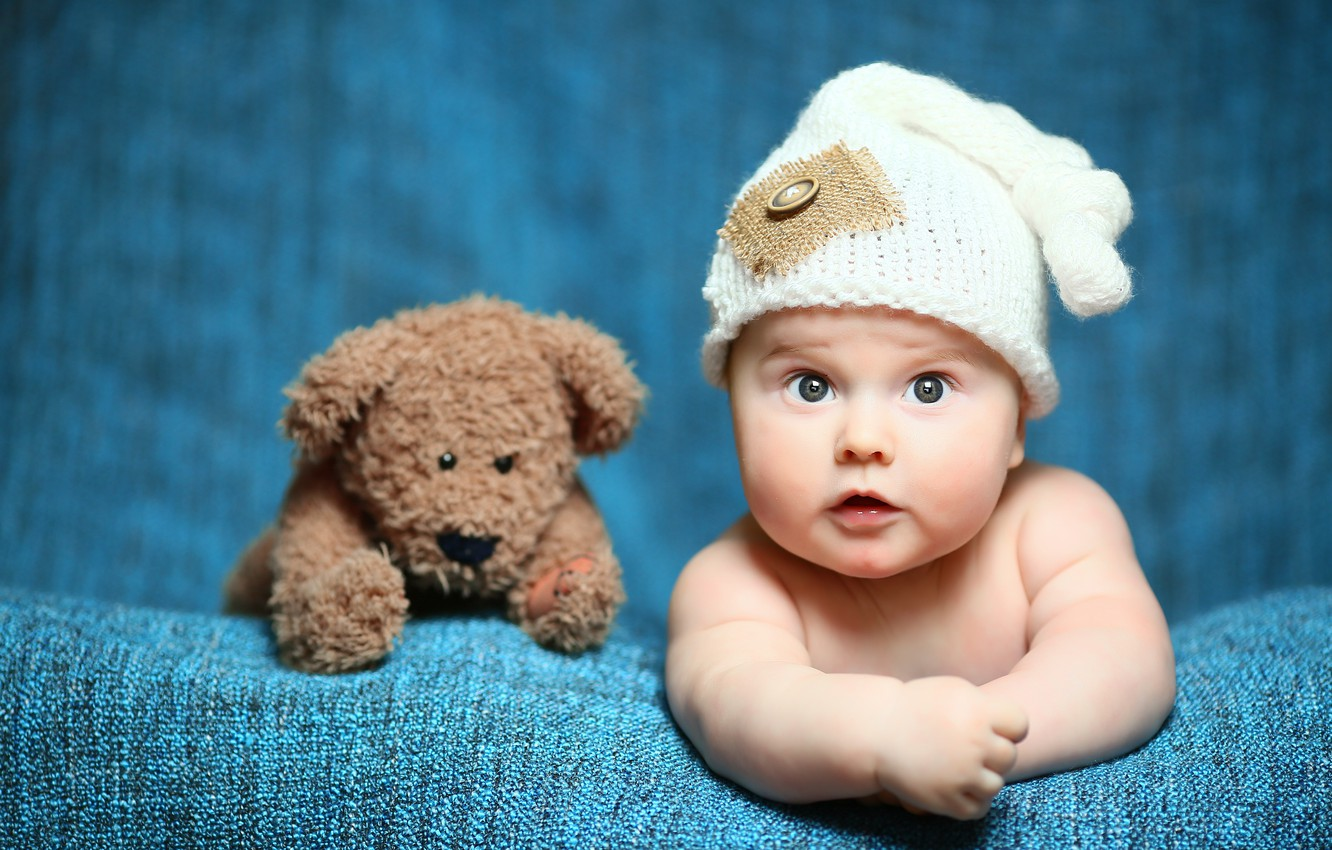 Photo wallpaper toy, child, bear, Baby, bear, cap, baby, teddy, Cute