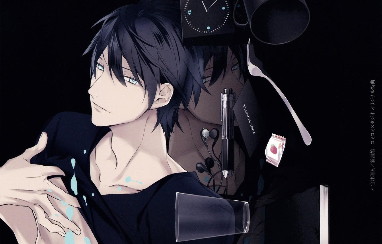 Photo wallpaper face, reflection, headphones, handle, book, guy, blue eyes, art, Rihito Takarai, 10 Count, hour, Riku …