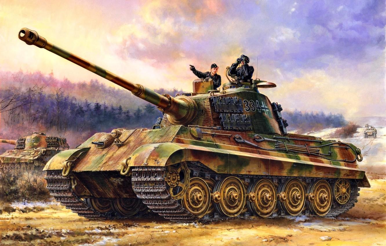 Photo wallpaper Germany, Tank, Tiger II, Heavy, The third Reich, WWII, Tankers, Panzerwaffe, Pz.Kpfw.VI Ausf.B