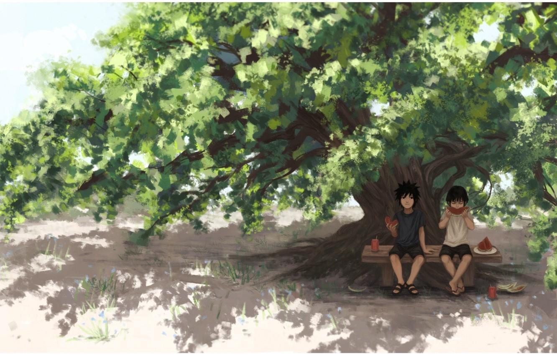 Photo wallpaper watermelon, Naruto, friends, art, tree, Hashirama Senju, Uchiha Powers