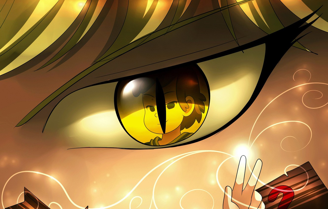 Photo wallpaper look, eyes, reflection, Bill Cipher