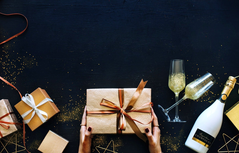 Photo wallpaper bottle, glasses, gifts