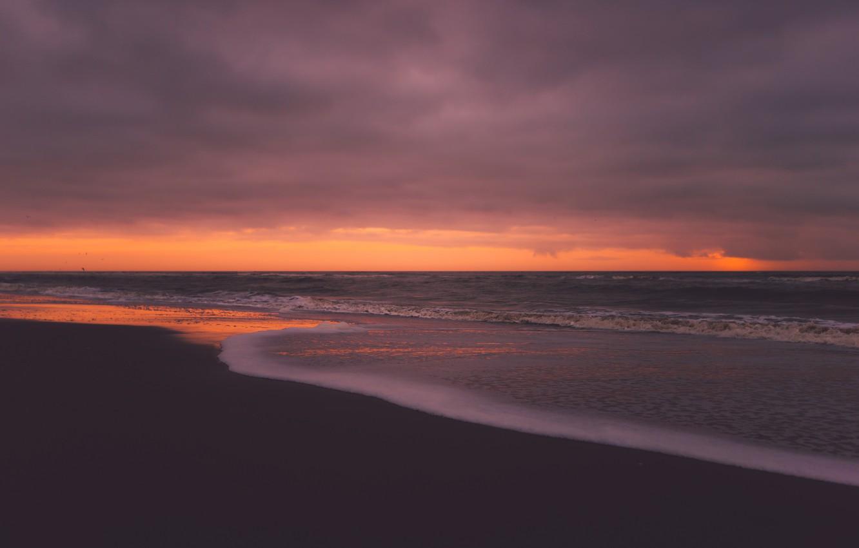 Photo wallpaper sand, sea, beach, foam, the ocean, dawn