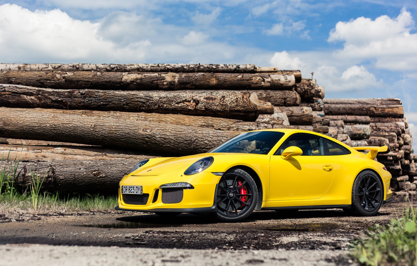 Photo wallpaper Porsche, GT3, Yellow, 991