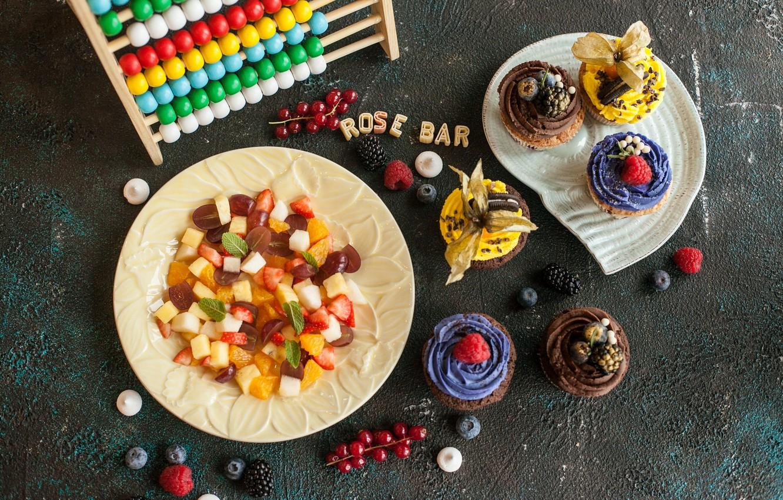Photo wallpaper food, delicious, cupcakes, fruit salad