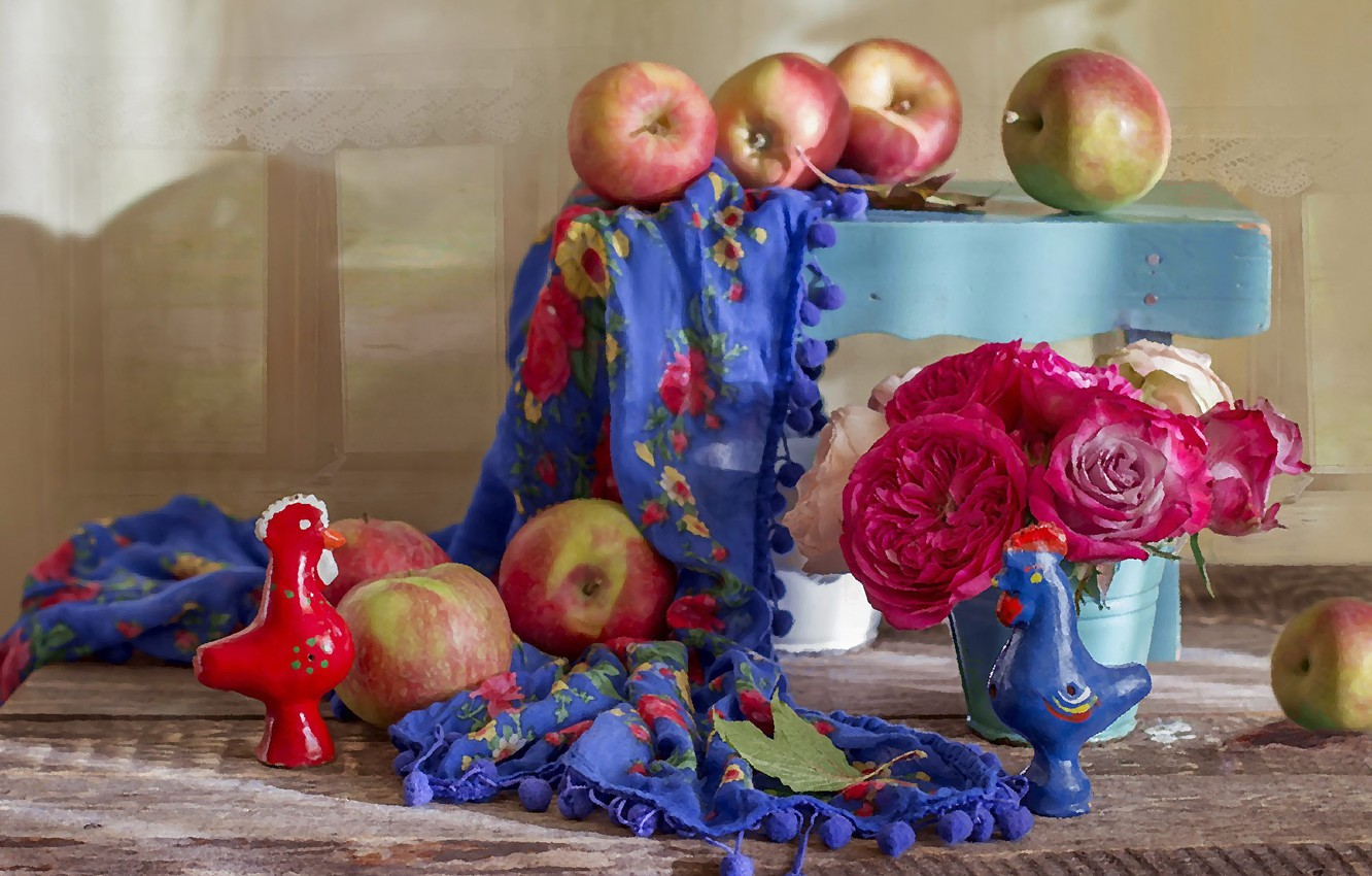Photo wallpaper apples, shawl, composition