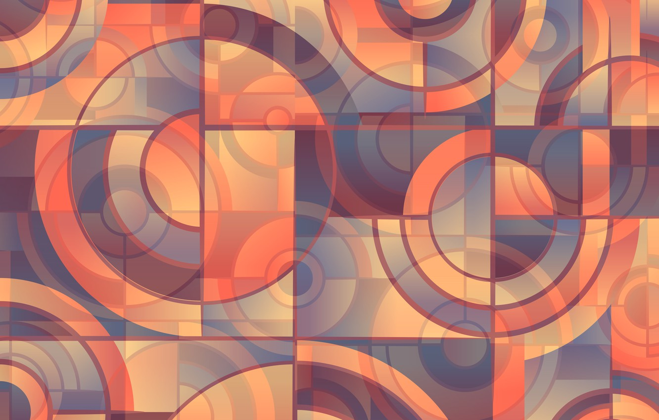 Photo wallpaper circles, design, abstraction, geometry