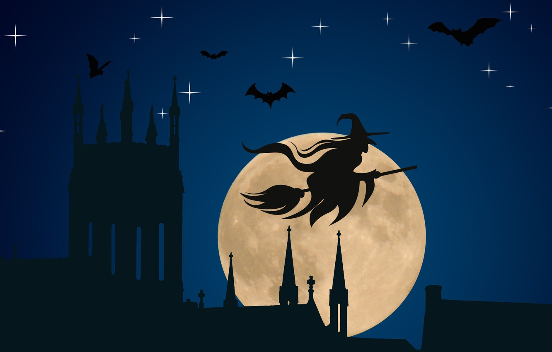 Photo wallpaper vector, Halloween, moon, hat, night, stars, bats, silhouette, witch, church, spooky, vector art, spiers, holyday, …
