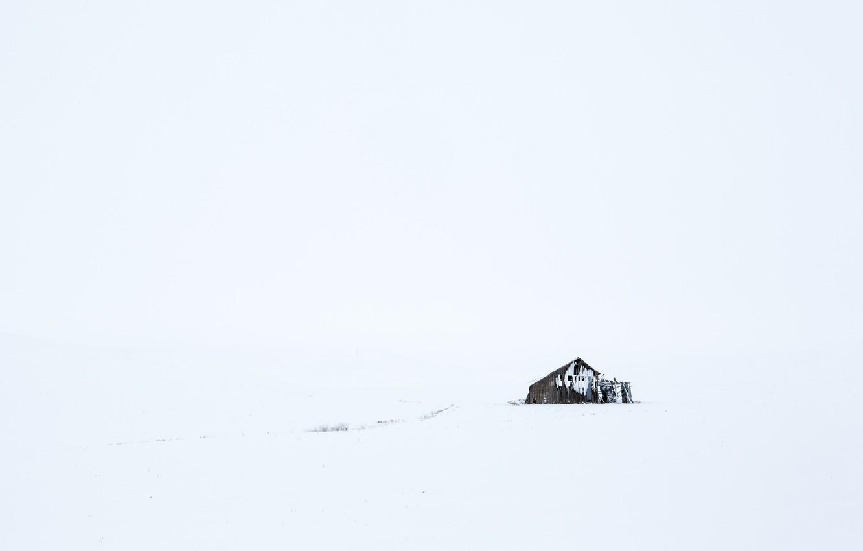 Photo wallpaper winter, field, snow, sheds