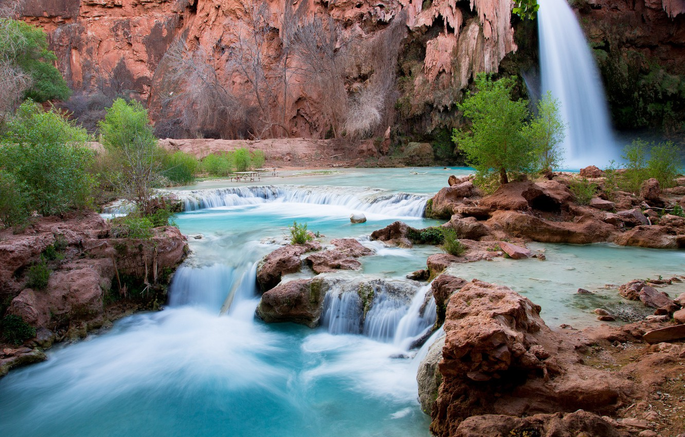 Photo wallpaper water, trees, landscape, nature, waterfall, Arizona, Havasu Falls