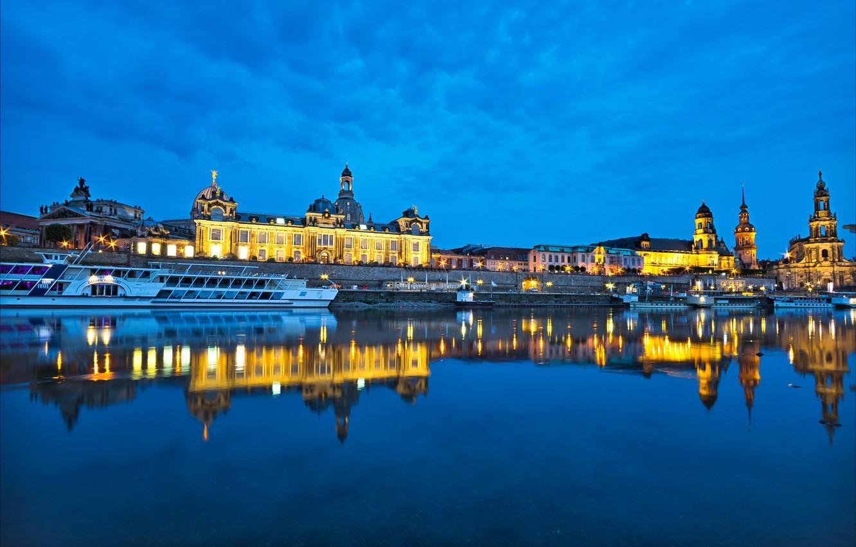 Photo wallpaper reflection, river, building, Germany, Dresden, pier, Church, night city, promenade, Germany, Dresden, ship, Saxony, Saxony, …