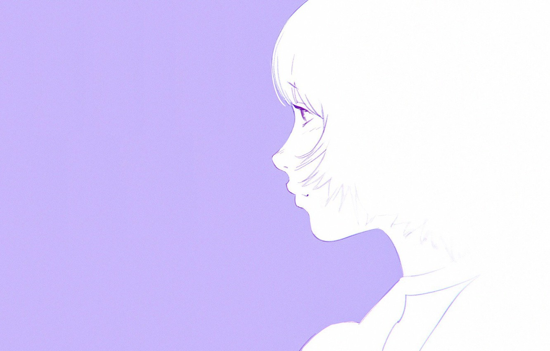 Photo wallpaper haircut, profile, bangs, lilac background, portrait of a girl, Ilya Kuvshinov