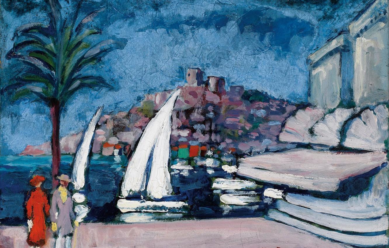 Photo wallpaper Palma, oil, pair, canvas, boats, Cannes, Kees van Dongen