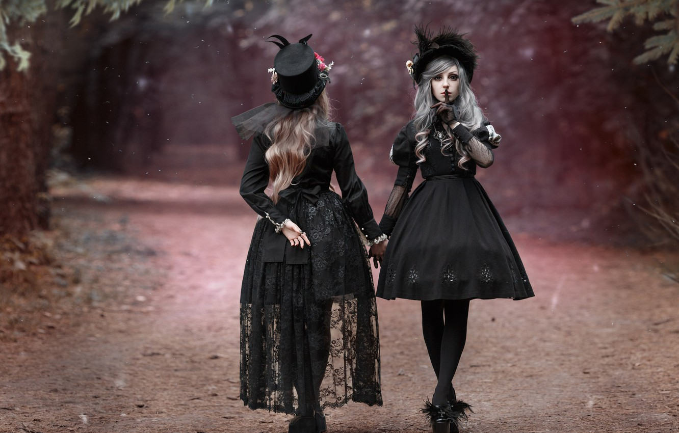 Photo wallpaper road, style, hats, two girls, gesture, in black, dresses, photographer Svetlana Nicotine, Mila Rogova, Kate …