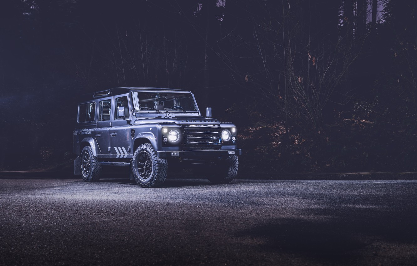 Photo wallpaper Land Rover, Night, Defender