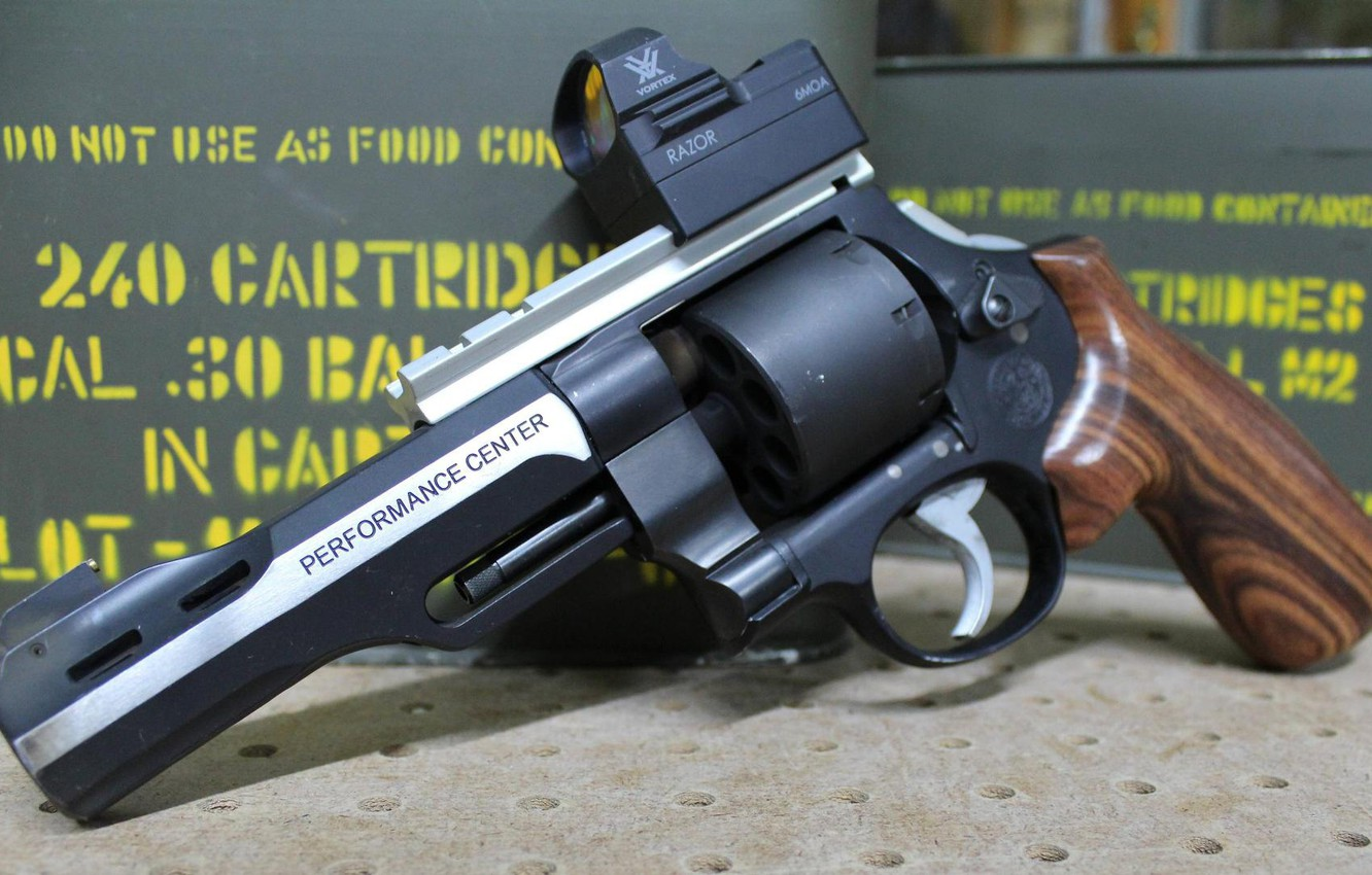 Photo wallpaper weapons, revolver, weapon, Smith & Wesson, 9 mm, 9 mm, Performace Center, revoler