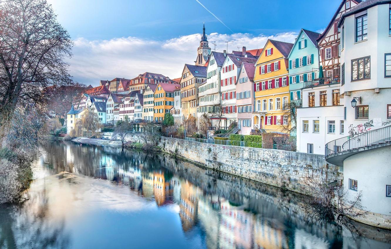Photo wallpaper reflection, river, building, home, Germany, promenade, Germany, Baden-Württemberg, Baden-Württemberg, Tübingen, Tübingen, the Neckar river, Neckar …