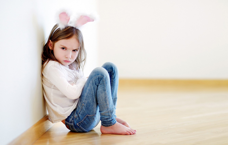 Photo wallpaper girl, sitting, ears