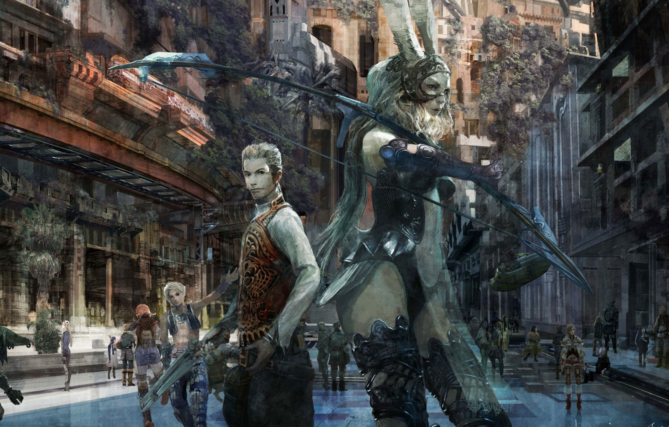 Photo wallpaper gun, game, Final Fantasy, weapon, bow, Final Fantasy XII, Final Fantasy XII The Zodiac Age