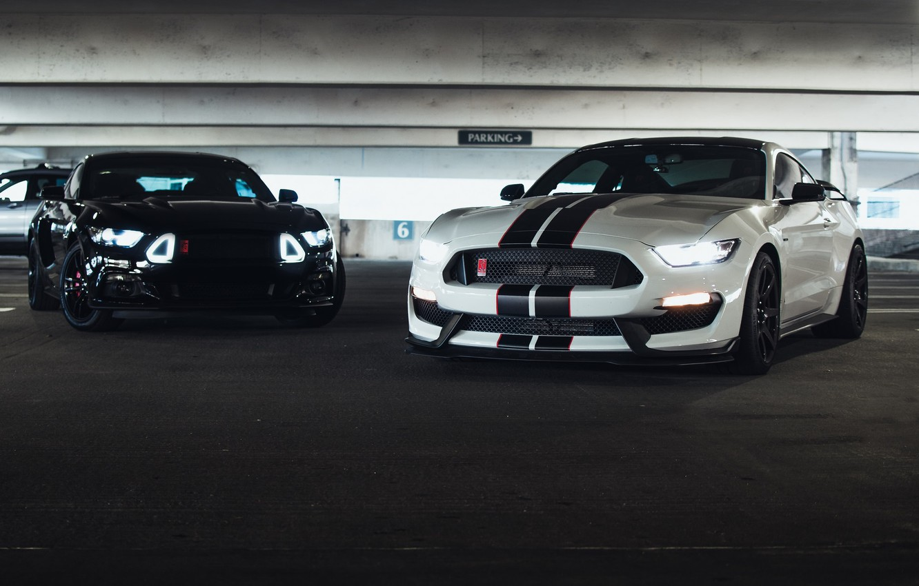 Photo wallpaper Mustang, Ford, Black, Lights, White, Muscle Cars