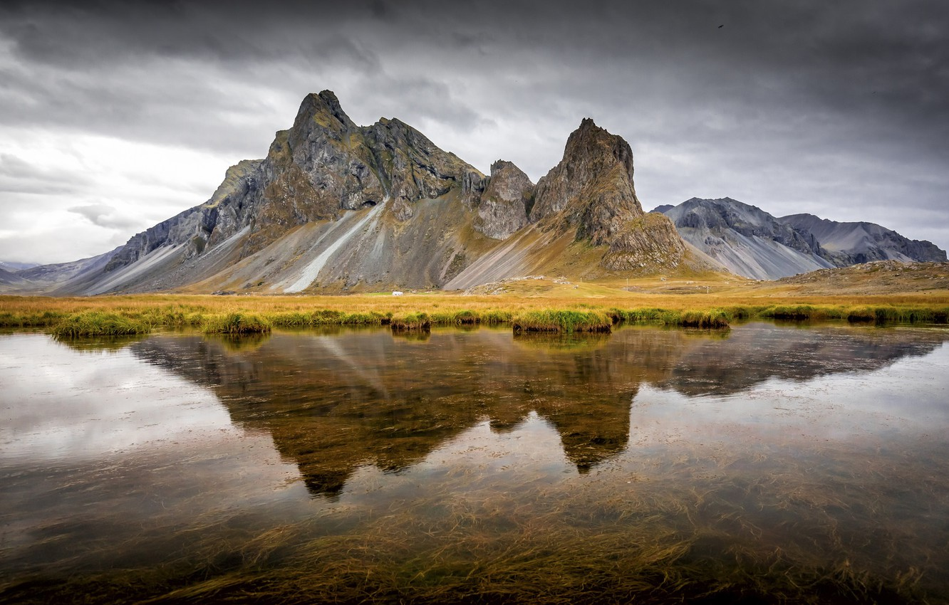 Photo wallpaper water, reflection, mountain, Iceland, Iceland, East Horn