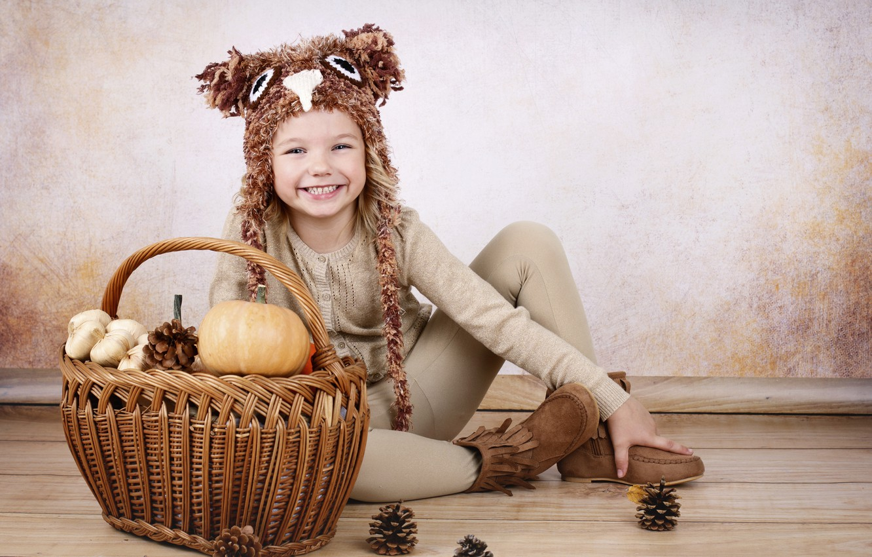 Photo wallpaper smile, child, girl, pumpkin, sitting, basket, bumps, decor
