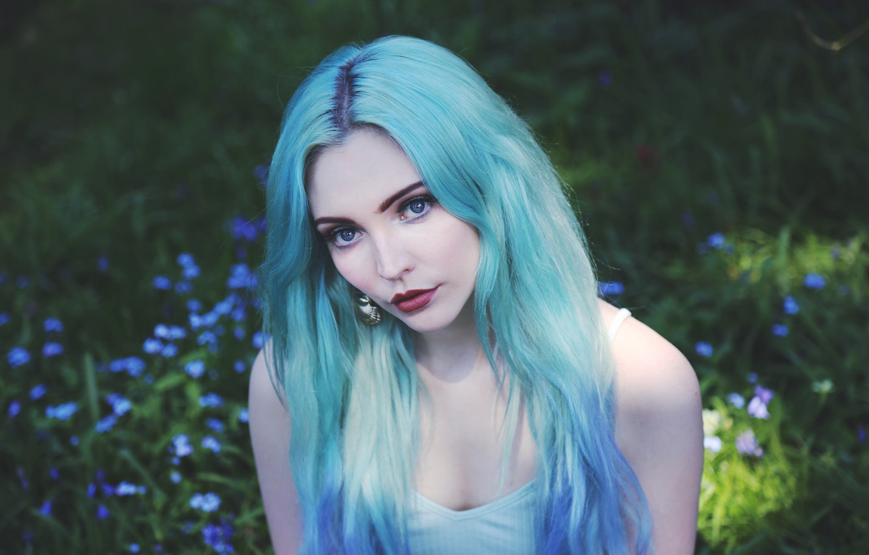 Photo wallpaper girl, hair, portrait, blue, blue