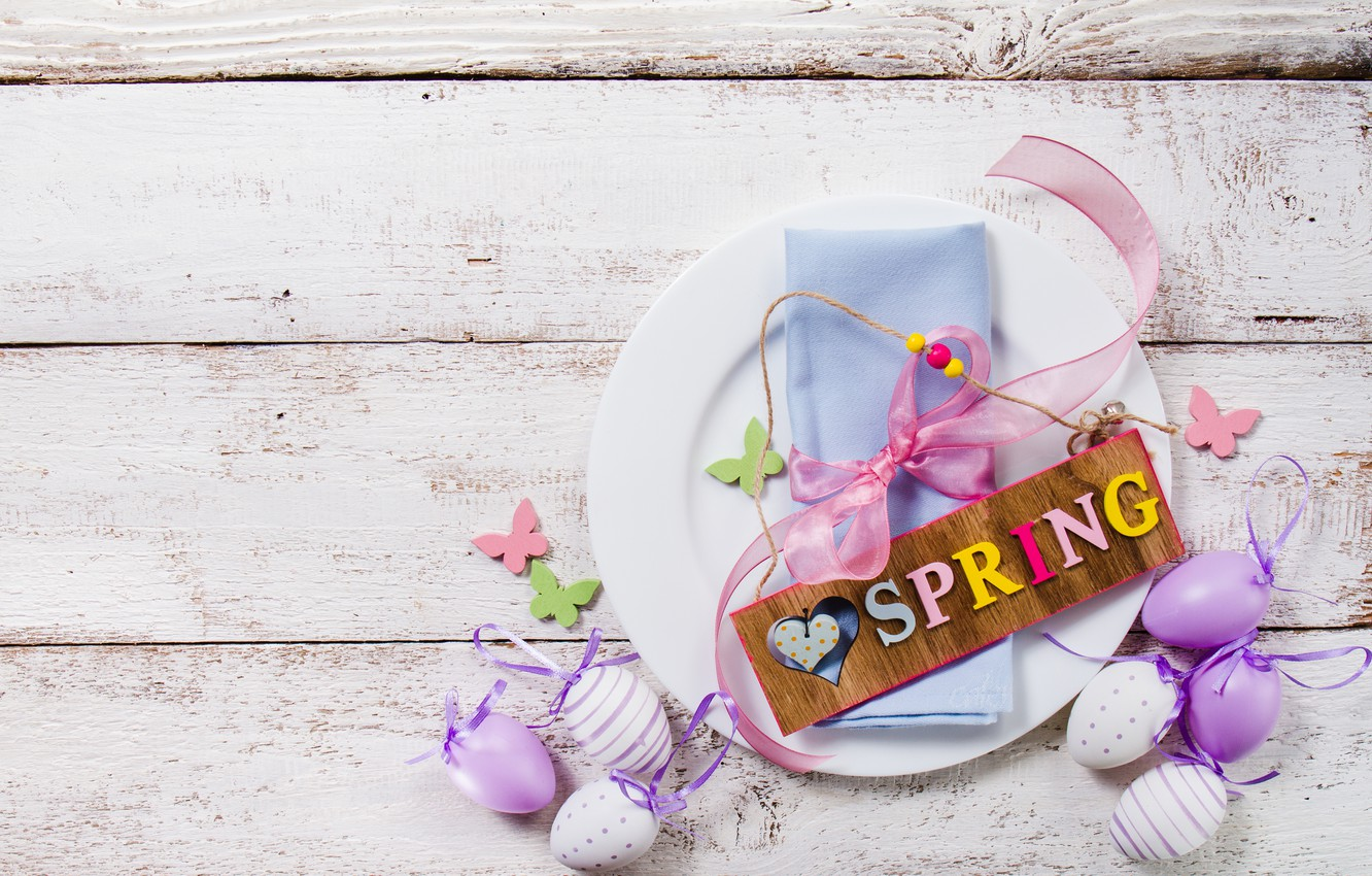 Photo wallpaper spring, Easter, wood, spring, Easter, purple, eggs, decoration, Happy, the painted eggs