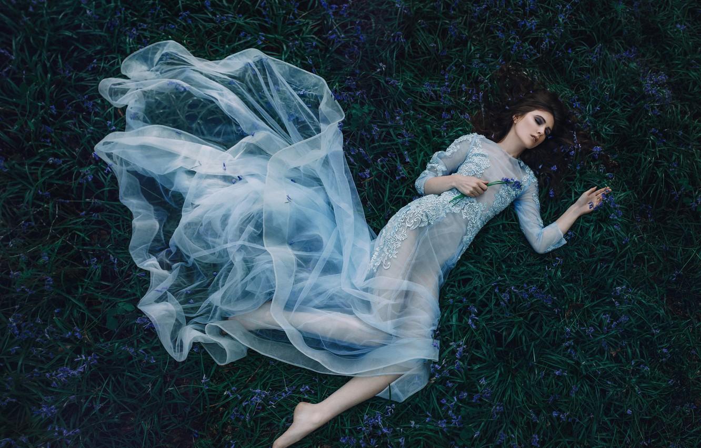 Photo wallpaper girl, flowers, mood, sleep, the situation, dress, bells, sleeping beauty, Kerry Ann, Bird Man, The …