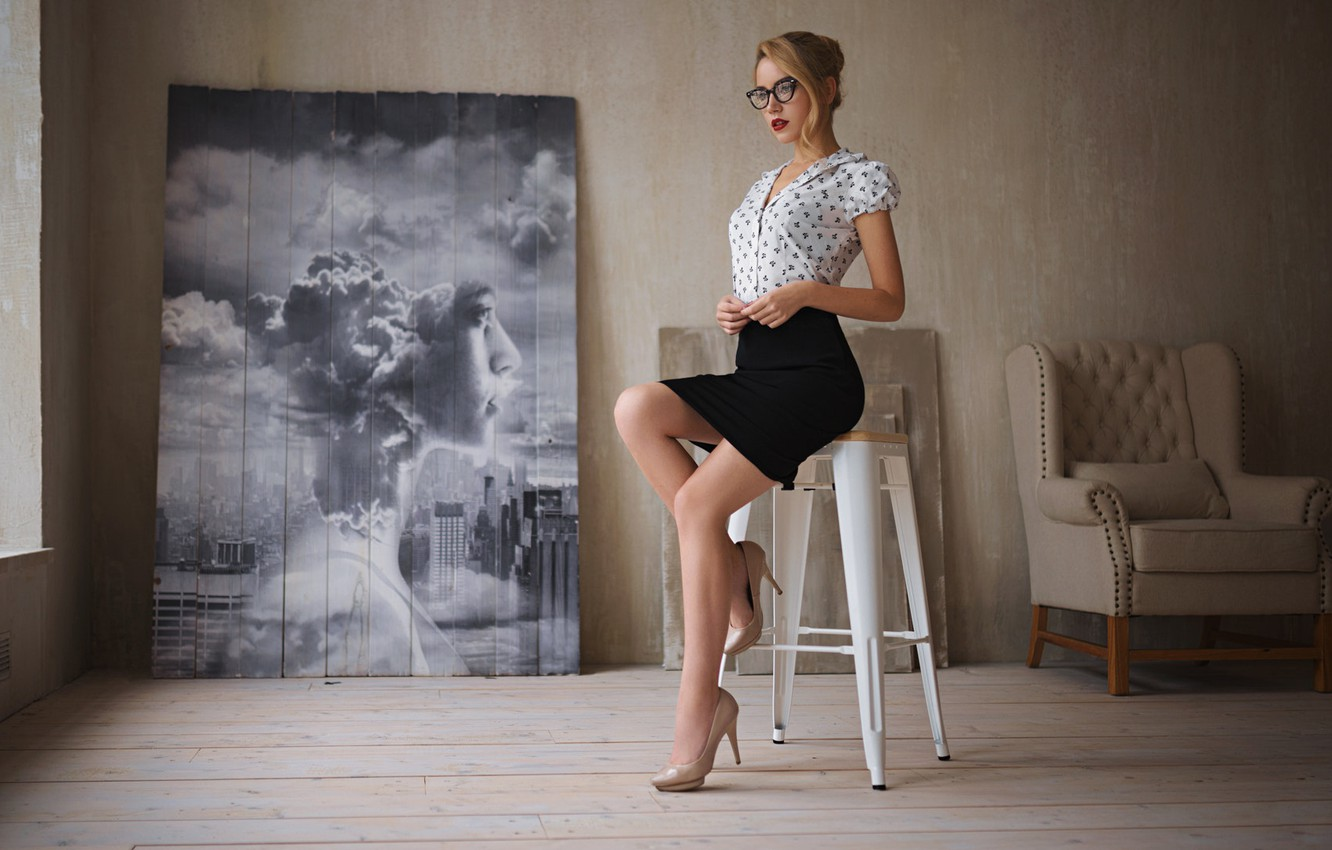 Photo wallpaper girl, Model, blouse, legs, photo, photographer, blue eyes, figure, lips, face, interior, sensual, blonde, glasses, …