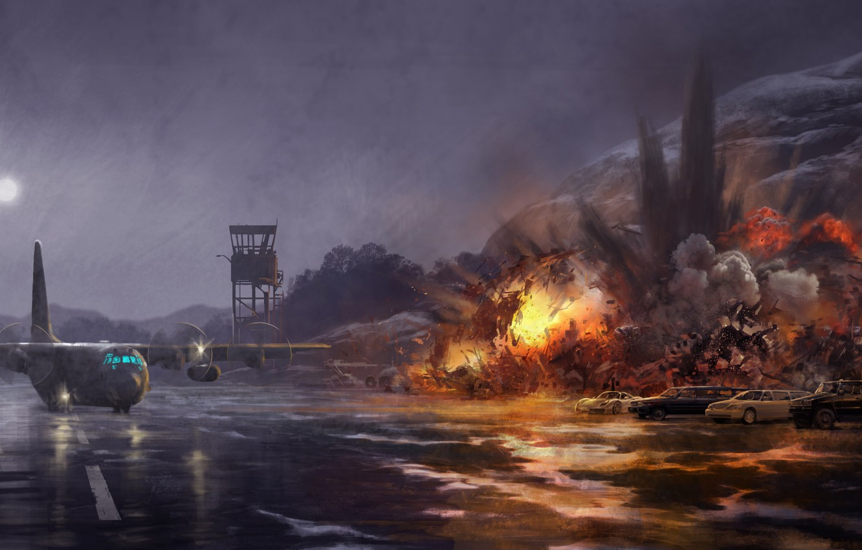 Photo wallpaper the sky, machine, the explosion, night, fiction, rain, fire, flame, the moon, smoke, figure, art, …