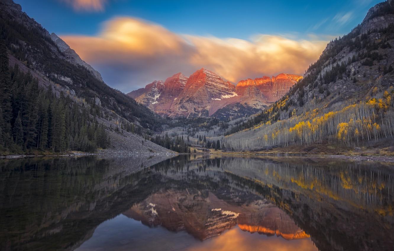 Photo wallpaper autumn, clouds, mountains, reflection