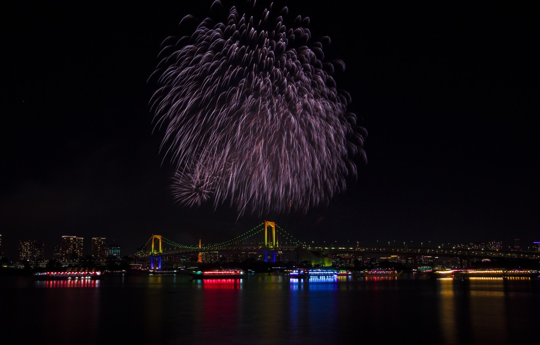 Photo wallpaper lights, holiday, the building, Tokyo, Japan, Rainbow Bridge, fireworks