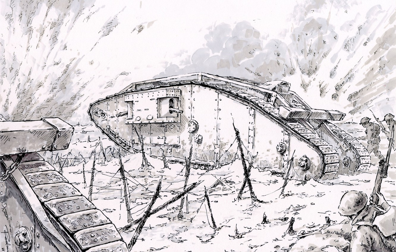 Photo wallpaper attack, tanks, infantry, the first world war