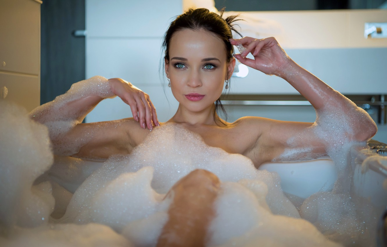 Photo wallpaper girl, sexy, wet, green eyes, legs, soap, photographer, model, beauty, lips, face, brunette, erotic, sensual, …