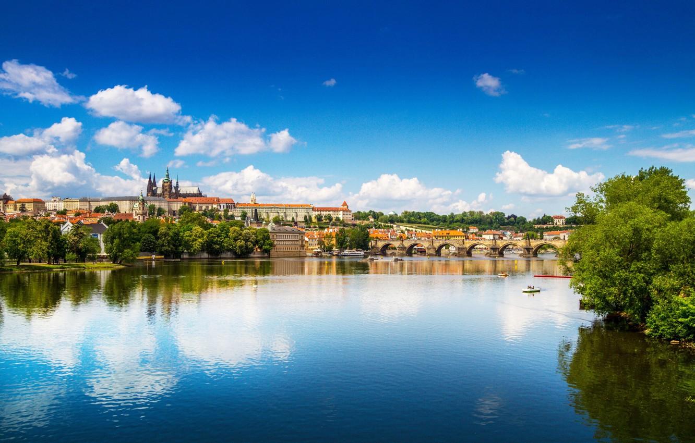 Photo wallpaper bridge, river, Prague, Czech Republic, panorama, Vltava