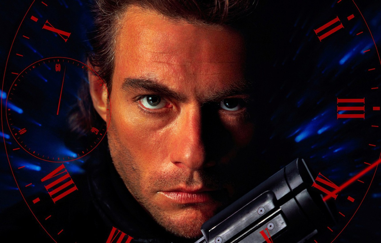 Photo wallpaper pistol, weapon, man, face, martial artist, Jean-Claude Van Damme, Van Damme, 1994, Timecop