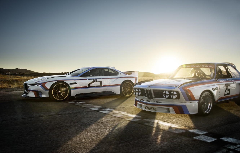 Photo wallpaper Concept, Sunset, The sun, Auto, Machine, Dawn, BMW, Hommage, Bavarian, BMW 3.0 CSL, Hommage R, …