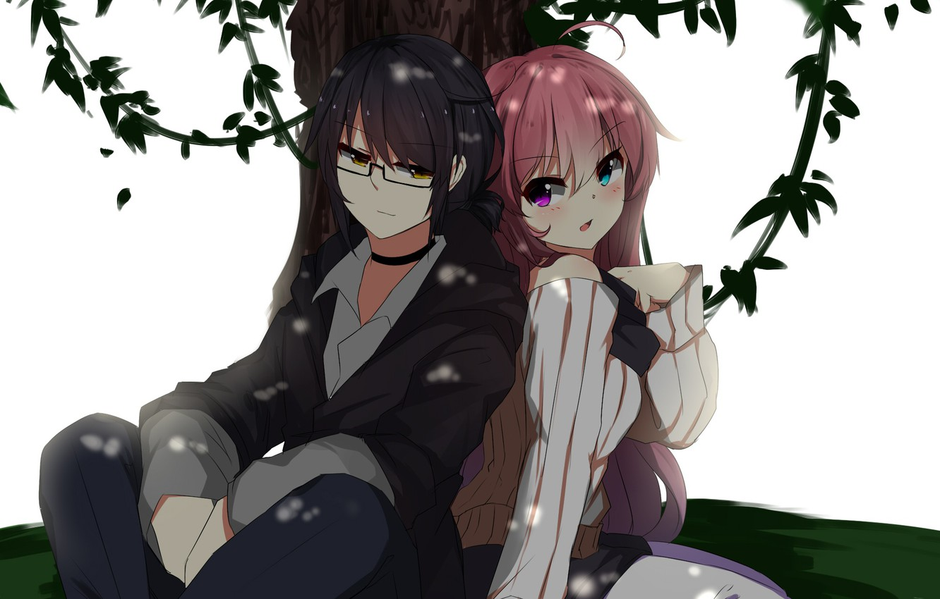 Photo wallpaper girl, tree, anime, guy, two