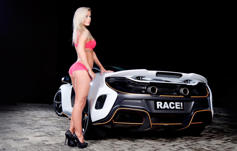 Photo wallpaper auto, look, McLaren, tattoo, blonde, bracelet, Erotic, beautiful girl