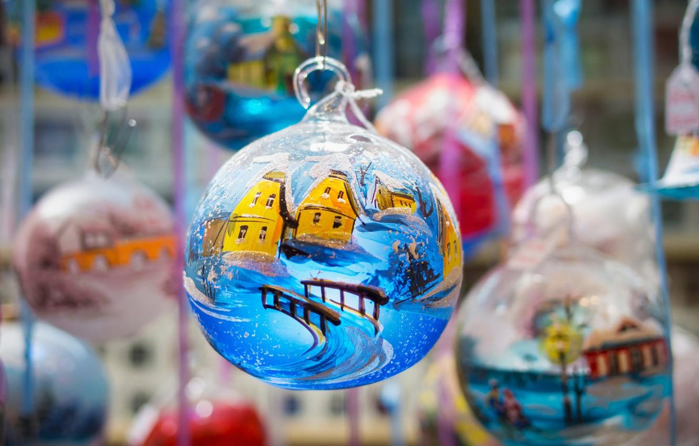 Photo wallpaper balls, decoration, holiday, toys, France, ball, Christmas, Colmar, Christmas market