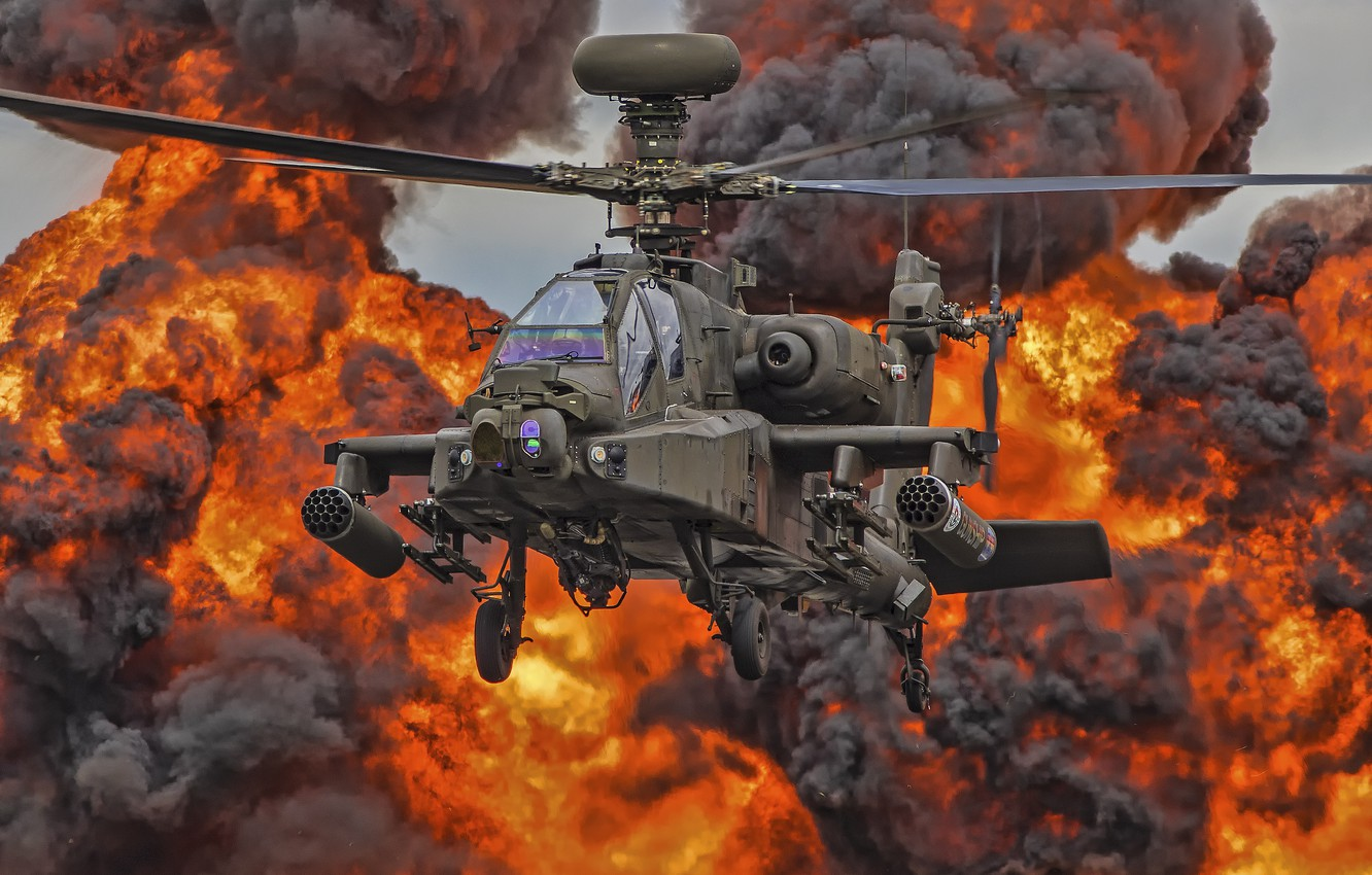 Photo wallpaper fire, helicopter, blades, Apache, AH-64D