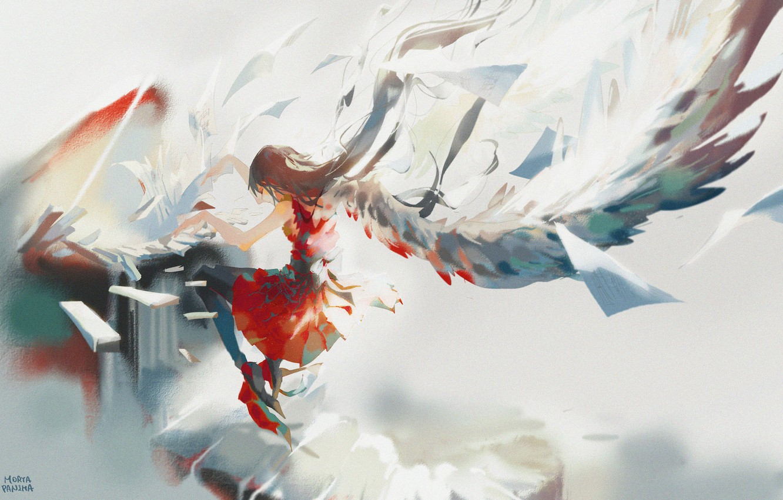 Photo wallpaper the sky, girl, angel, fantasy, piano, MoryaPanima